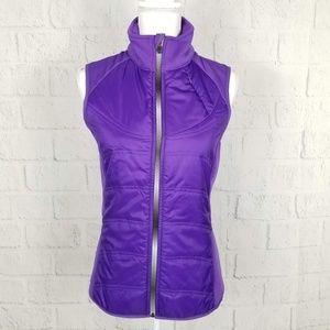 Athleta Sporty Purple Embroidered Puffer Vest Sm